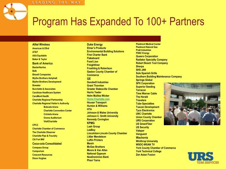 Program Has Expanded To 100+ Partners
