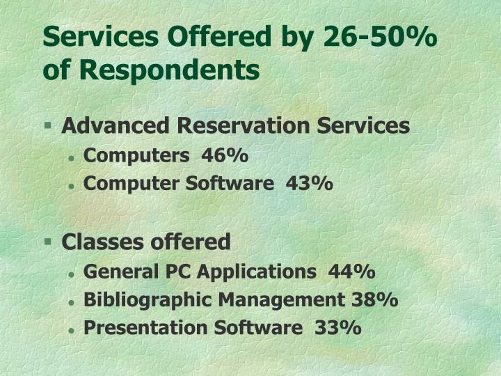 Services Offered by 26-50% of Respondents