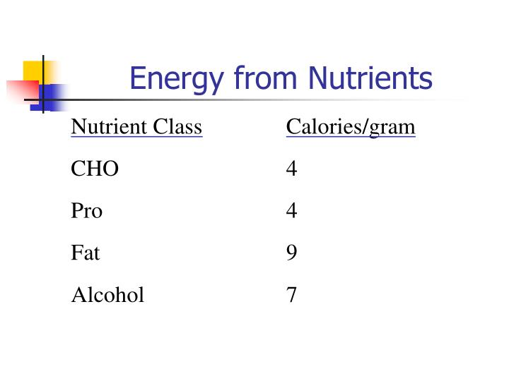Energy from Nutrients