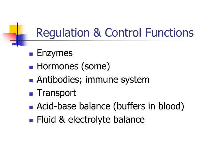 Regulation & Control Functions