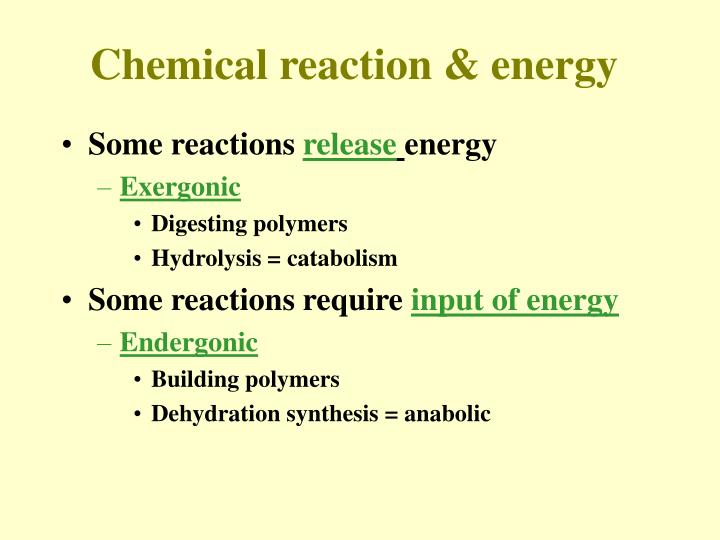 Chemical reaction & energy