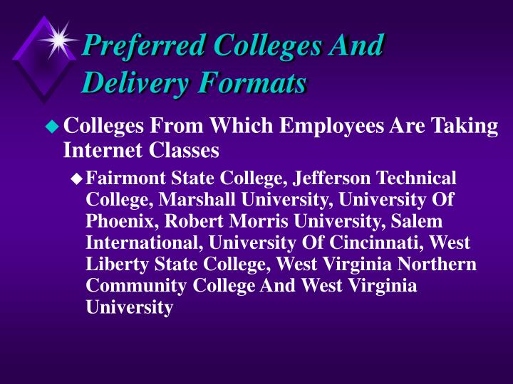 Preferred Colleges And Delivery Formats
