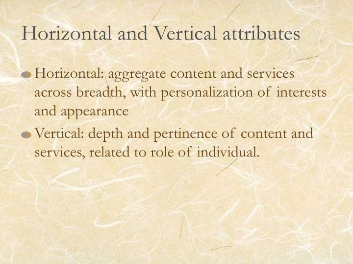 Horizontal and vertical attributes