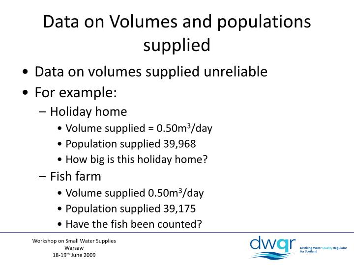 Data on Volumes and populations supplied