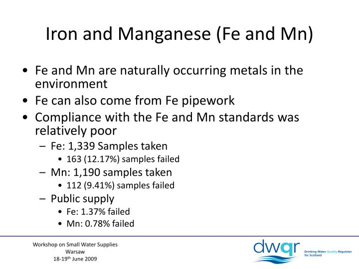 Iron and Manganese (Fe and Mn)