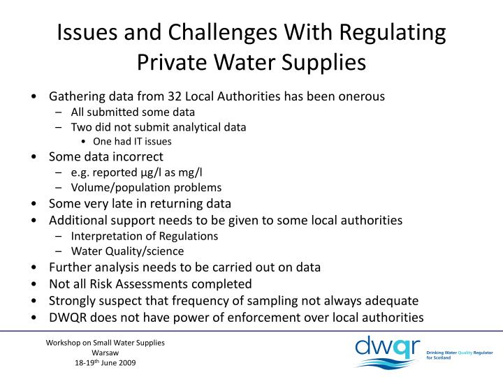 Issues and Challenges With Regulating Private Water Supplies