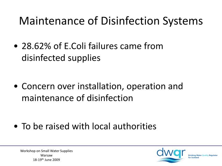 Maintenance of Disinfection Systems