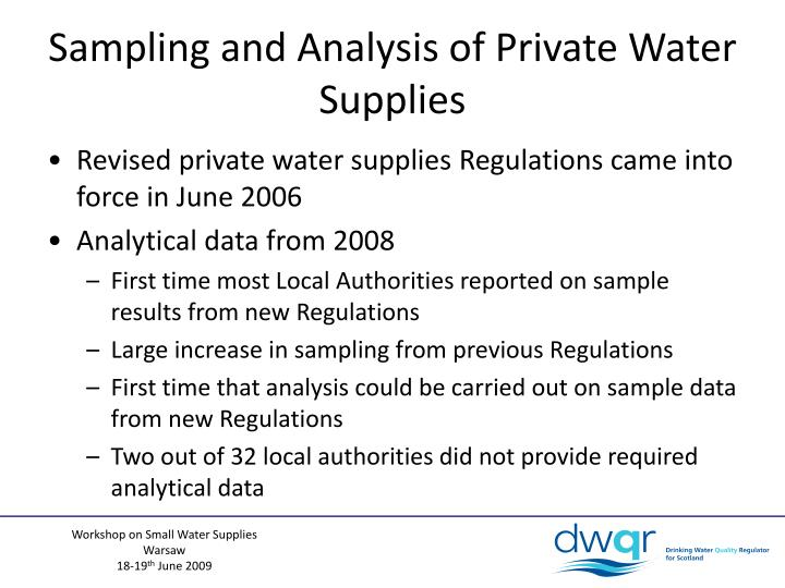 Sampling and Analysis of Private Water Supplies