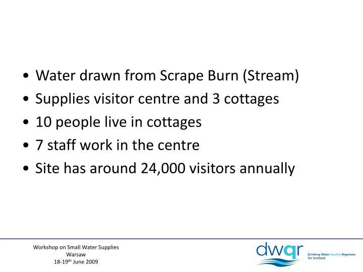 Water drawn from Scrape Burn (Stream)