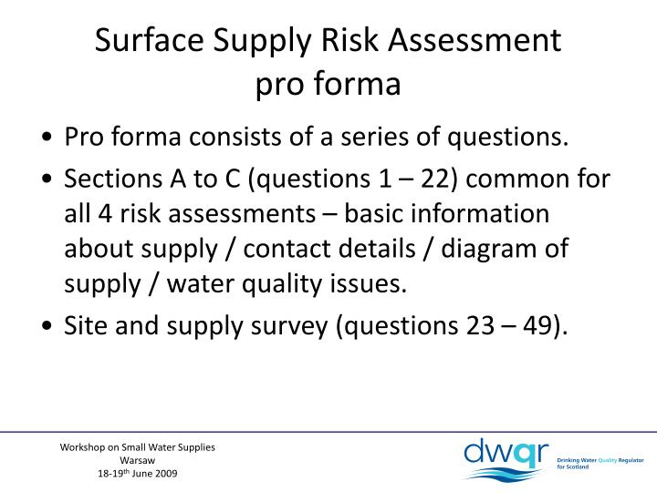 Surface Supply Risk Assessment