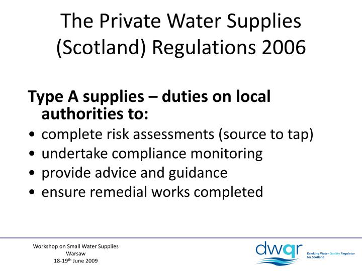 The Private Water Supplies (Scotland) Regulations 2006