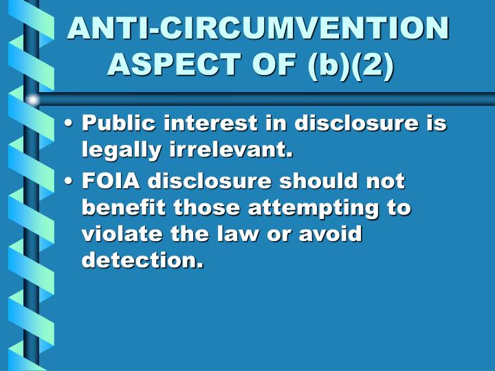 ANTI-CIRCUMVENTION