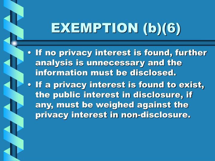 EXEMPTION (b)(6)
