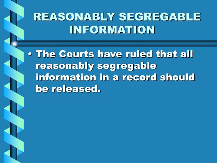 Reasonably segregable information