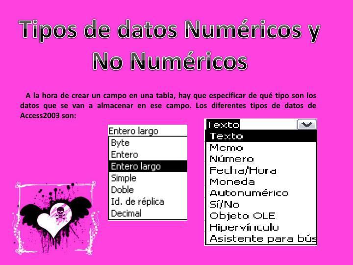 Tipos de datos Numéricos y