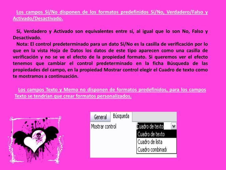 Los campos Sí/No disponen de los formatos predefinidos Sí/No, Verdadero/Falso y Activado/Desactivado.