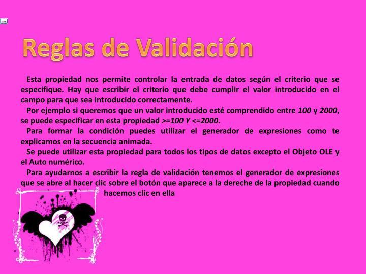 Reglas de Validación
