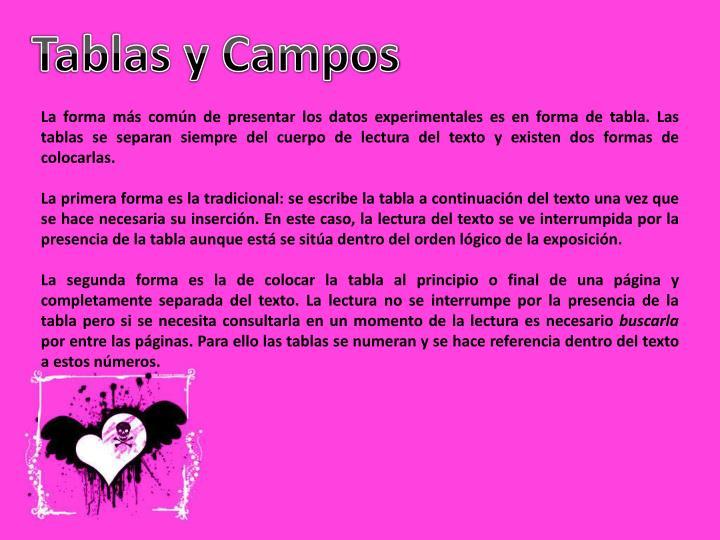 Tablas y Campos