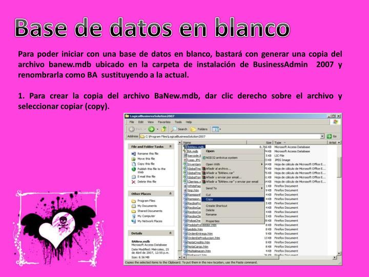 Base de datos en blanco