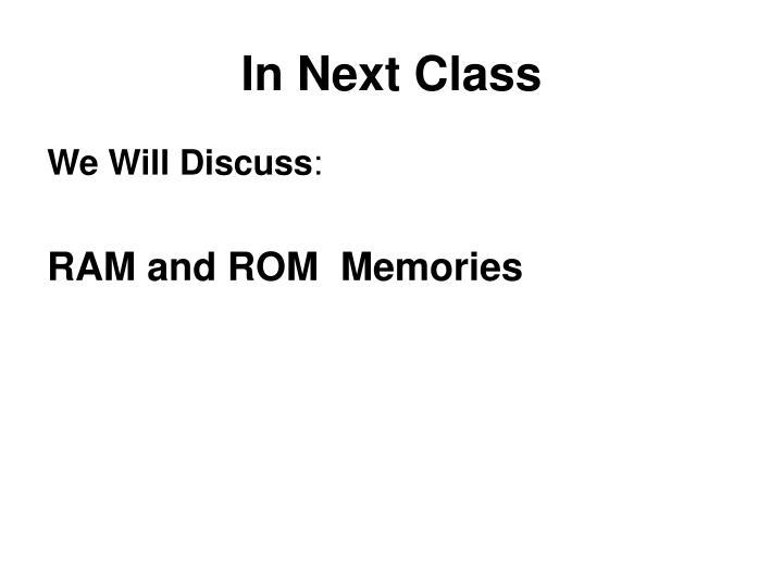 In Next Class