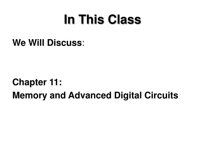 In This Class