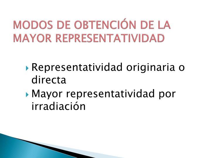MODOS DE OBTENCIÓN DE LA MAYOR REPRESENTATIVIDAD