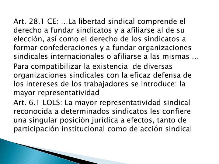 Art. 28.1 CE: …La libertad sindical comprende el derecho a fundar sindicatos y a afiliarse al de su elección, así como el derecho de los sindicatos a formar confederaciones y a fundar organizaciones sindicales internacionales o afiliarse a las mismas …