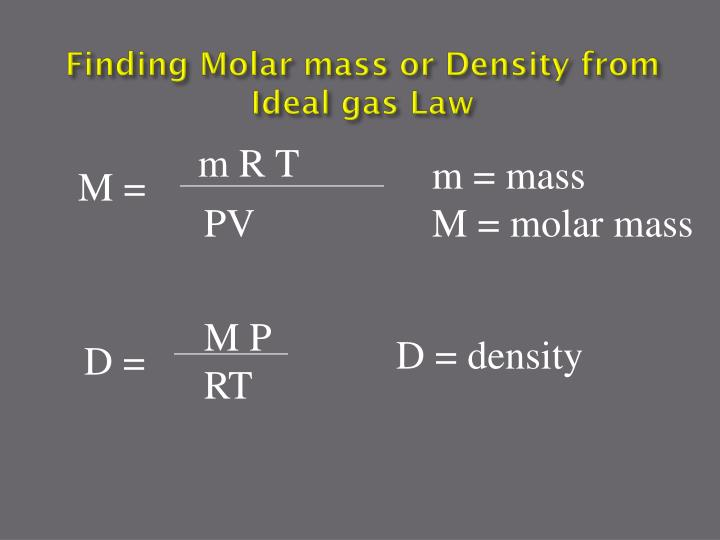 Finding Molar mass or Density from Ideal gas Law