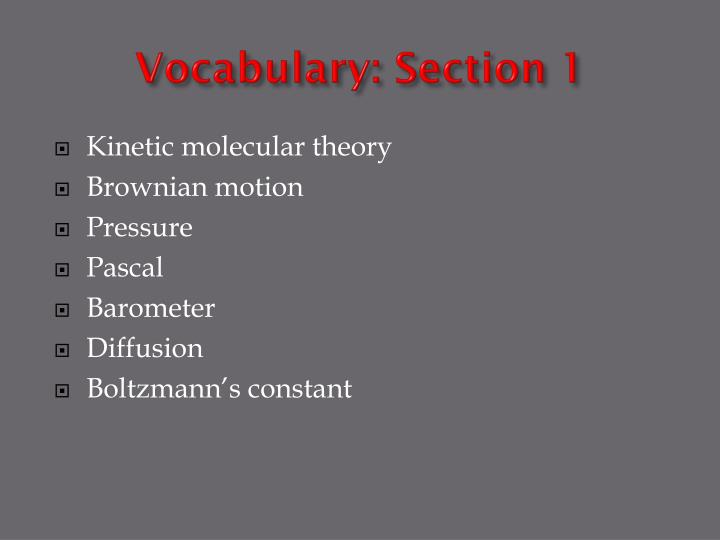 Vocabulary: Section 1