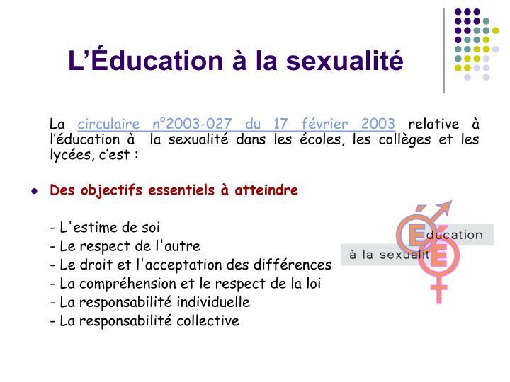 L'Éducation à la sexualité