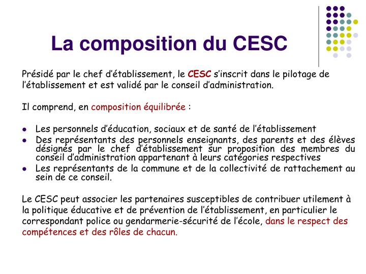 La composition du cesc