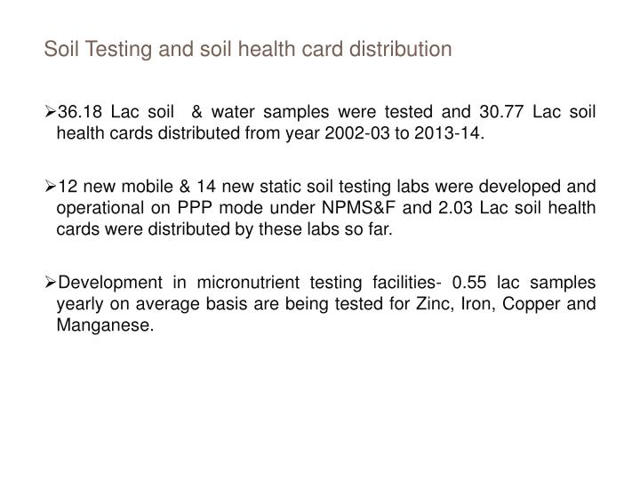 Soil Testing and soil health card distribution