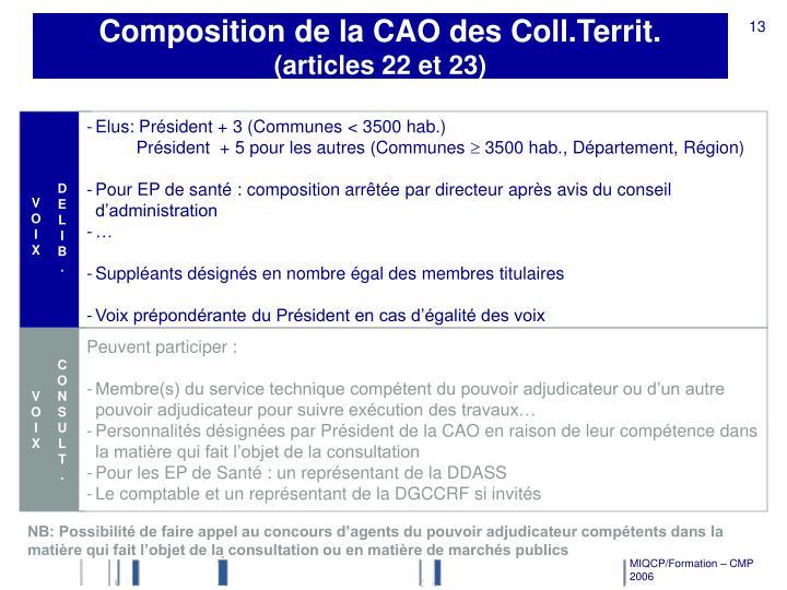 Composition de la CAO des Coll.Territ.