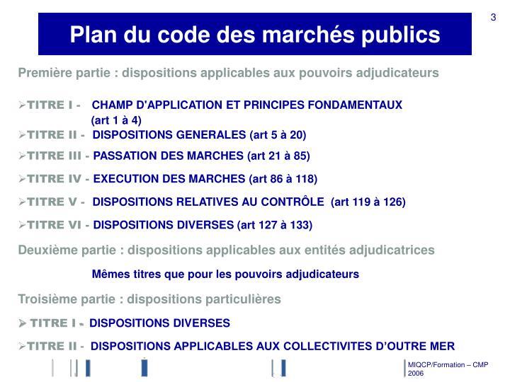 Plan du code des marchés publics