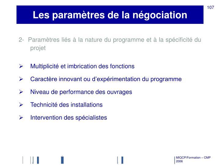 Les paramètres de la négociation