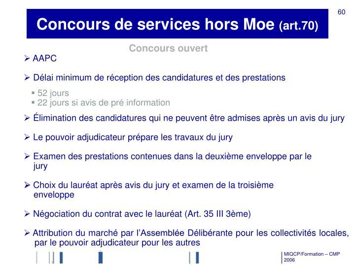 Concours de services hors Moe