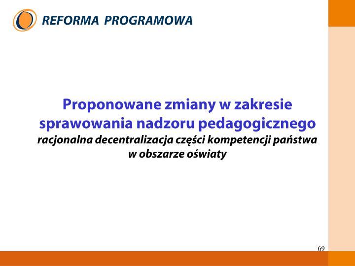 Proponowane zmiany w zakresie sprawowania nadzoru pedagogicznego