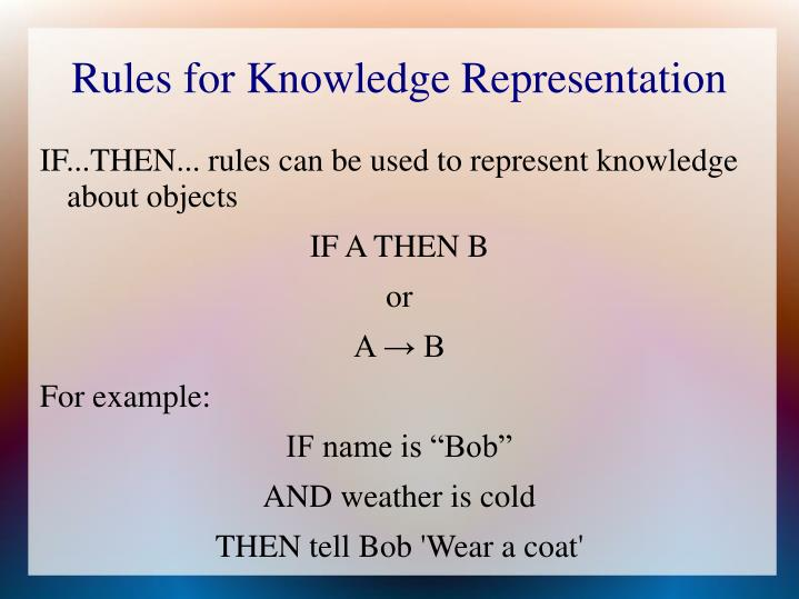 Rules for Knowledge Representation