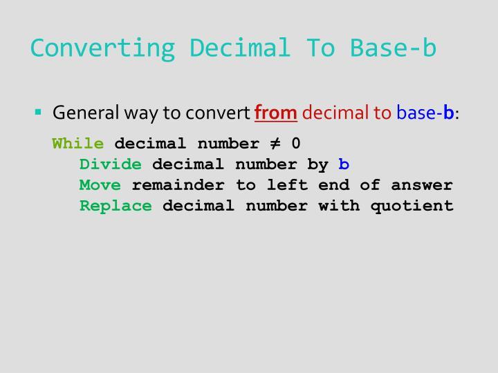 Converting Decimal To Base-