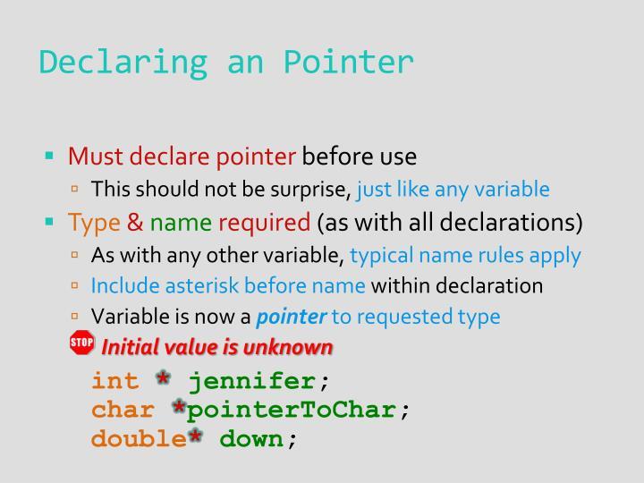 Declaring an Pointer