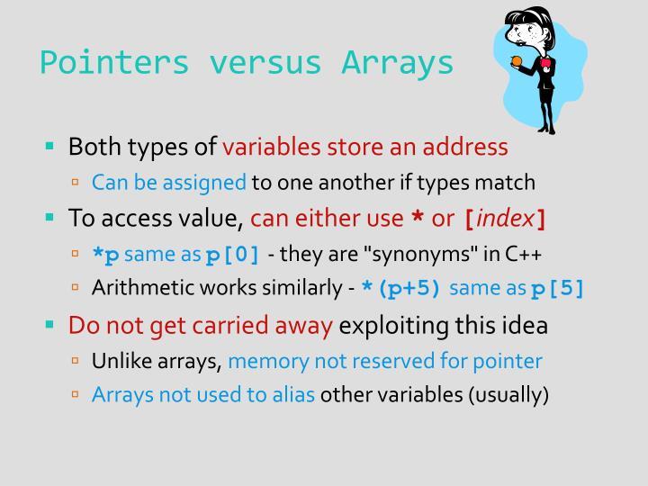 Pointers versus Arrays