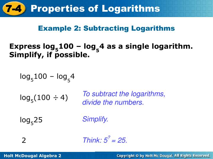 Example 2: Subtracting Logarithms