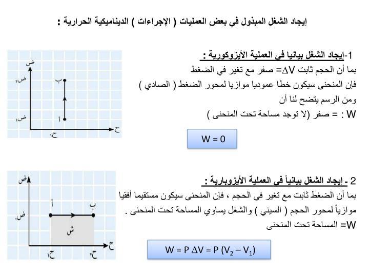 إيجاد الشغل المبذول في بعض العمليات ( الإجراءات ) الديناميكية الحرارية