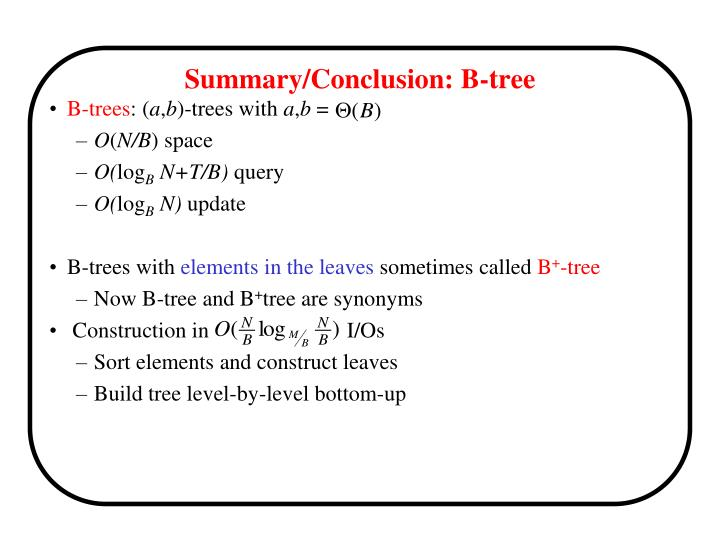 Summary/Conclusion: B-tree