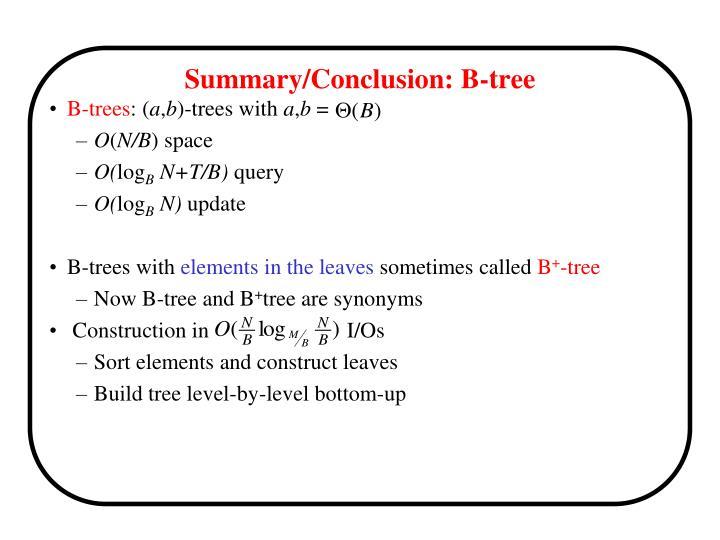 Summary/Conclusion: B-tree