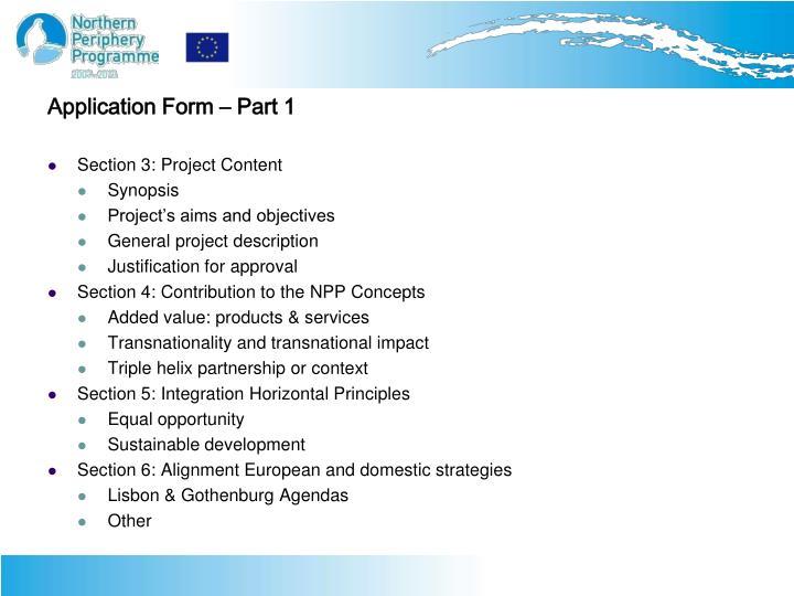 Application Form – Part 1