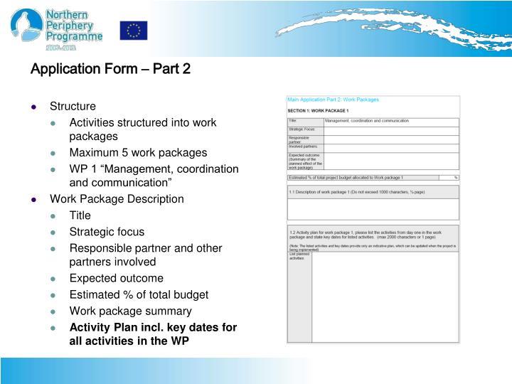 Application Form – Part 2