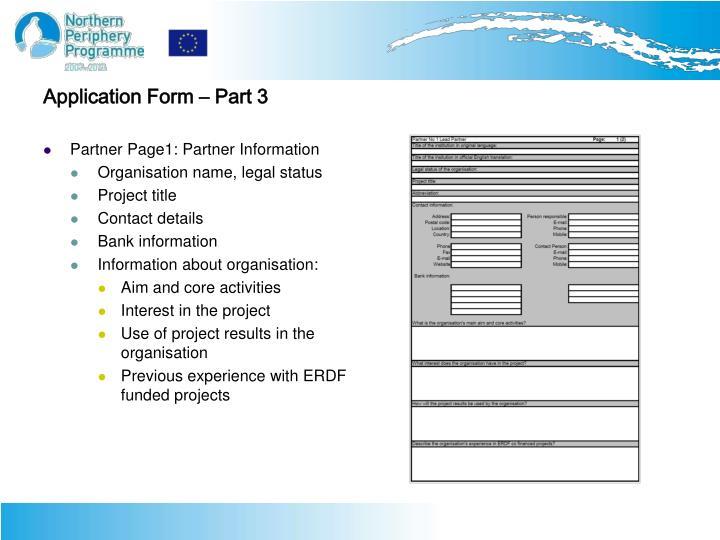 Application Form – Part 3