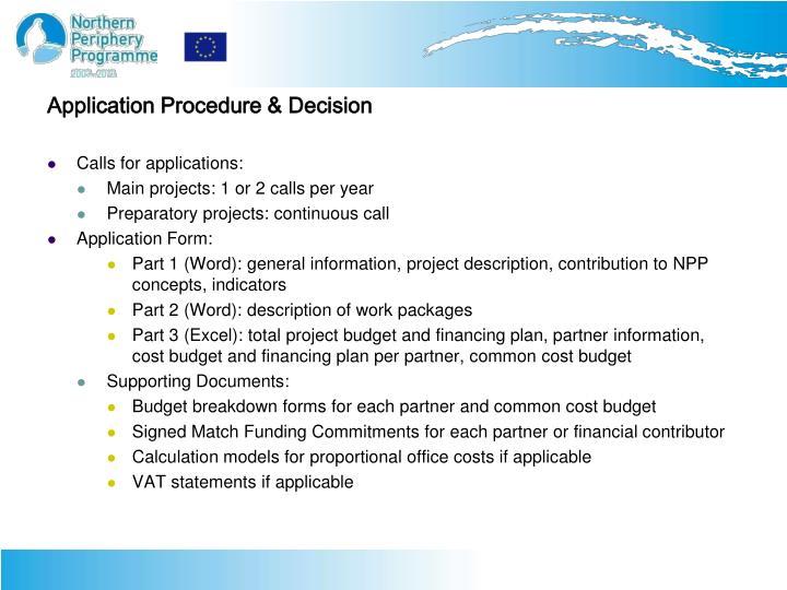 Application Procedure & Decision