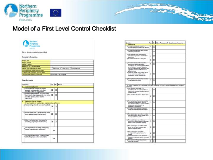 Model of a First Level Control Checklist